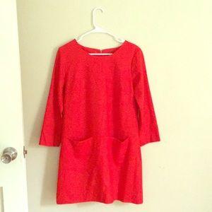 Wool J.Crew Dress Size 6 Burt Orange/Tomato Red